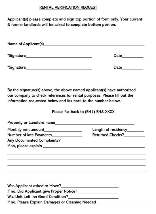 Free Rent Landlord Verification Forms Word Pdf