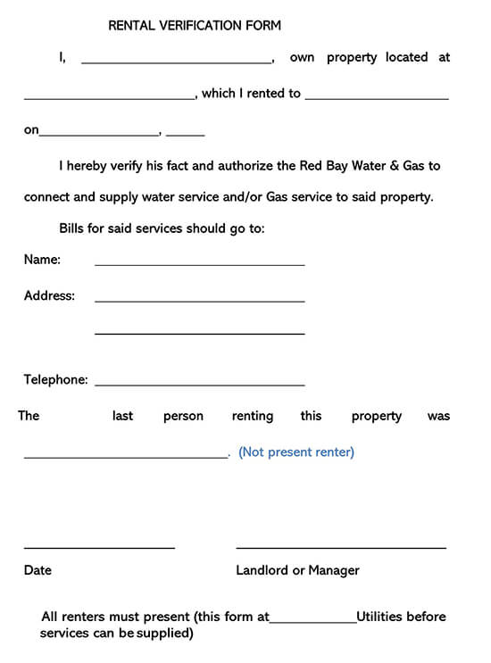 Rental Verification Form 08