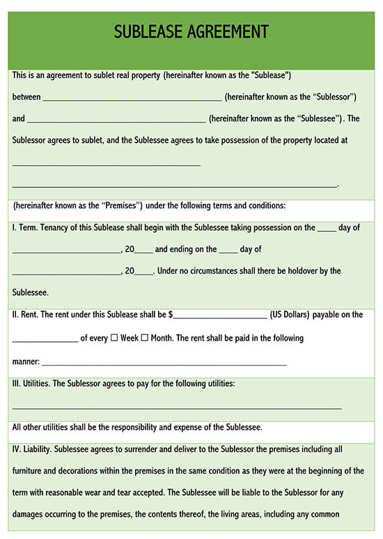 simple sublease agreement template