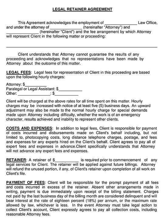 legal retainer agreement