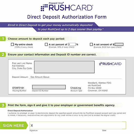 RushCard Direct Deposit Authorization Form