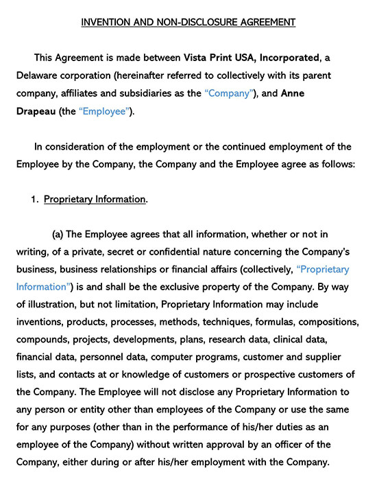 Sample Invention Non-Disclosure Agreement