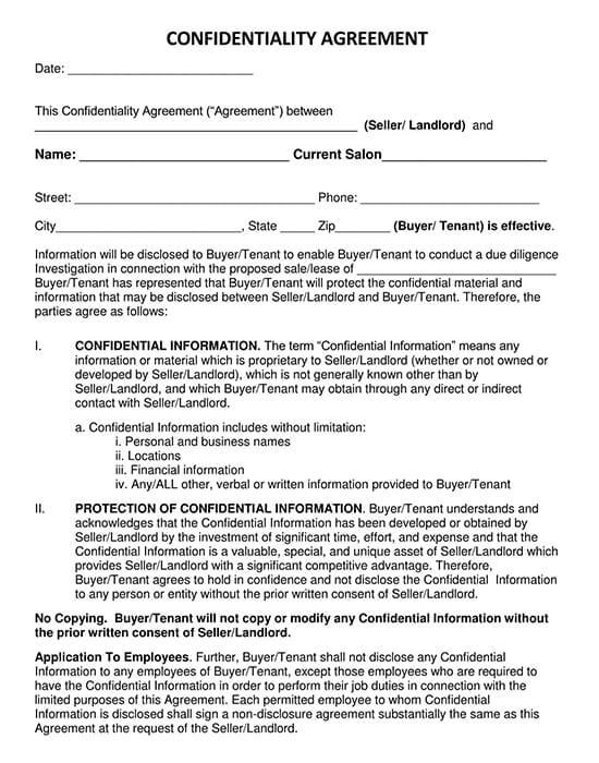 Sample Landloard Tenant Non-Disclosure Agreement