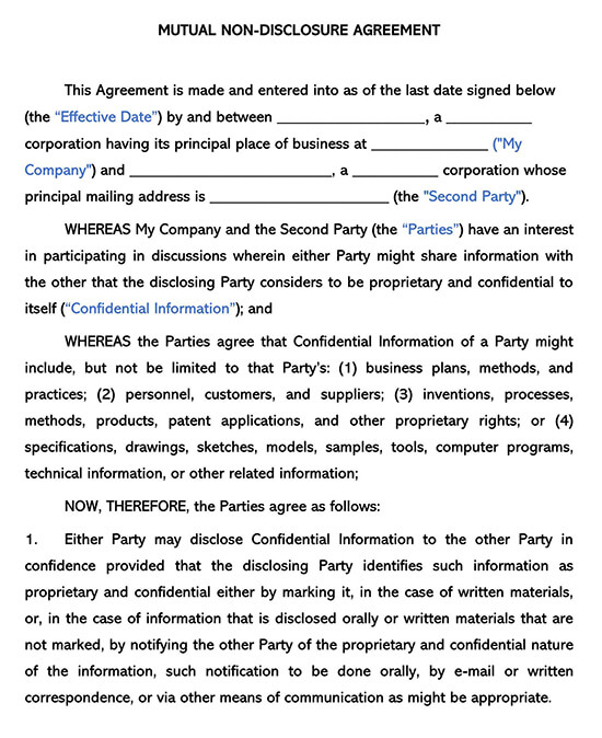 Sample Mutual Non-Disclosure Agreement Template