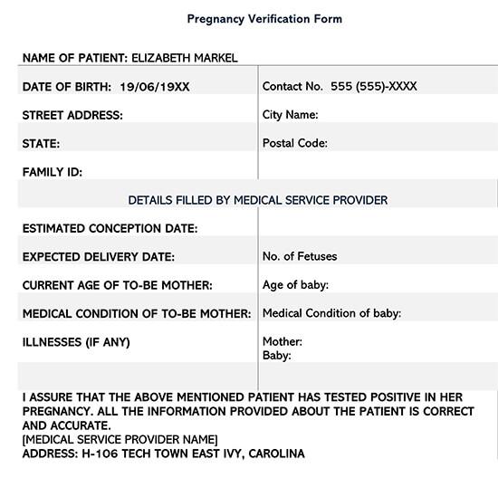 Sample Pregnancy Verification Form