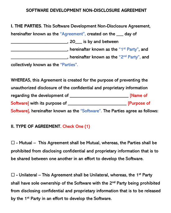 Software Development Non Disclosure Agreement Templates