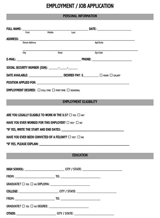 new job application form