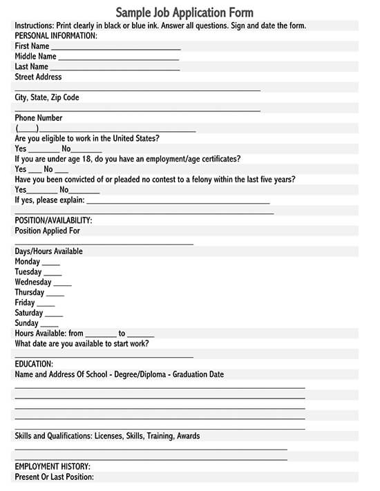 basic employment application template
