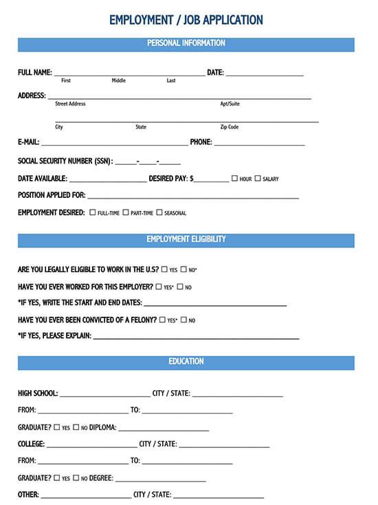 job application form download word