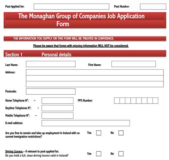 job application template google docs