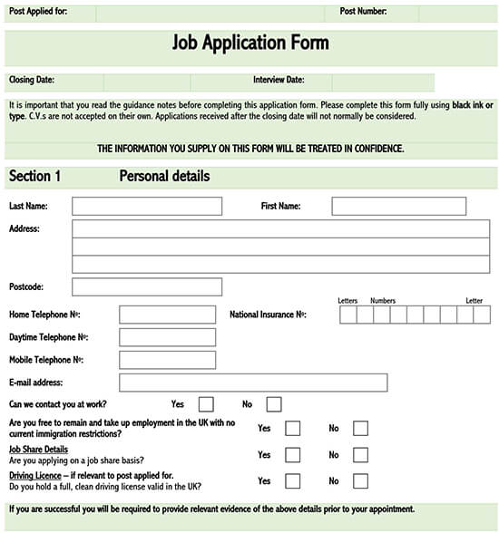 blank job application form word document 01