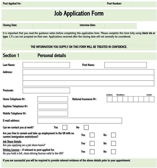 Free Job Application Forms Templates Standard Format