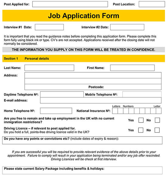 basic employment application template 01