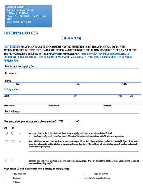 restaurant job application template 01