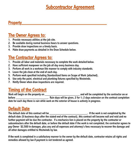consulting subcontractor agreement
