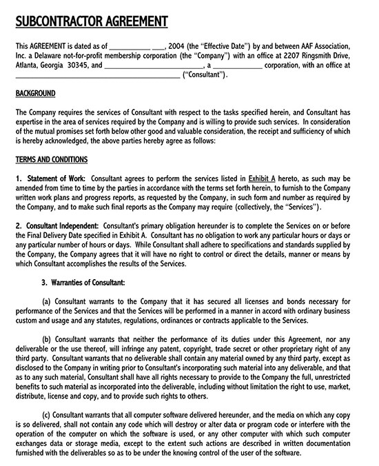 labour only subcontractor agreement template