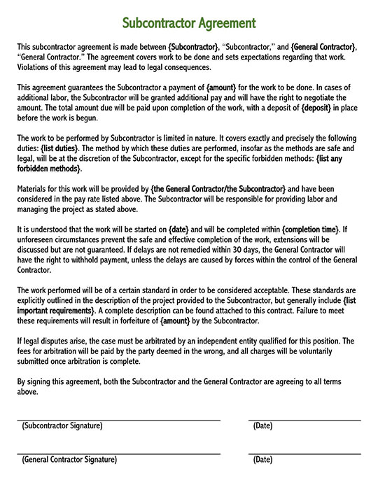 free subcontractor agreement template word 01