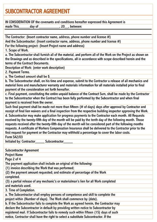 1099 subcontractor agreement