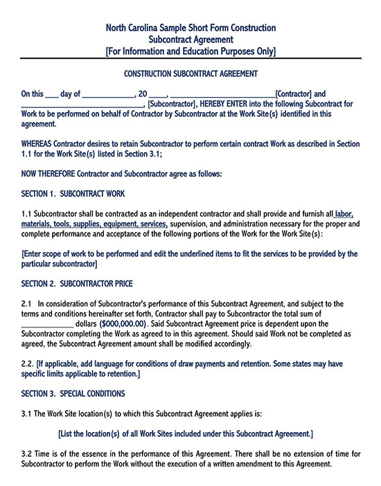 consulting subcontractor agreement 01