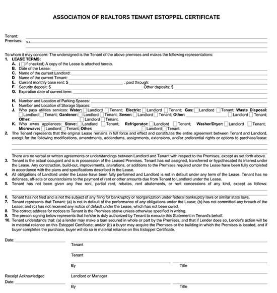 residential tenant estoppel certificate pdf