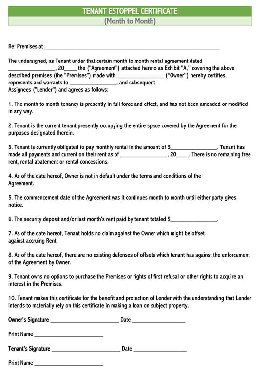 sample commercial tenant estoppel certificate