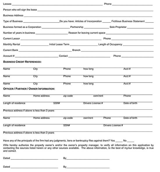 tenant information form word