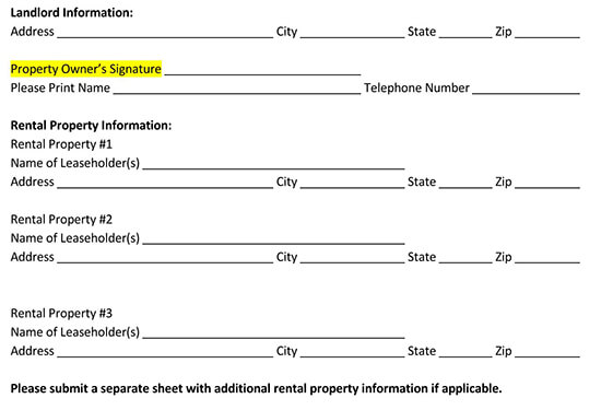 residential tenant contact information form