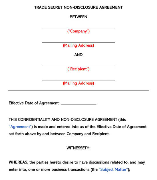 Trade Secret Non-Disclosure Agreement NDA Form