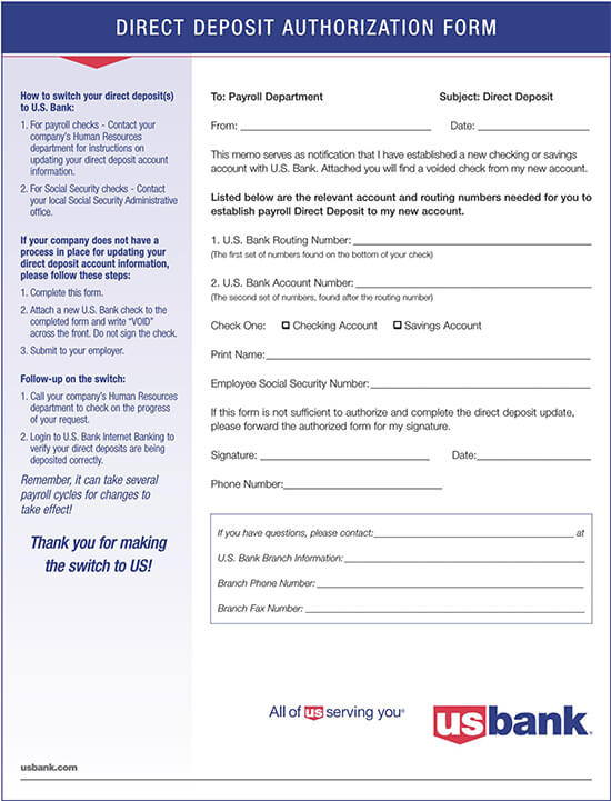 US Bank Direct Deposit Authorization Form