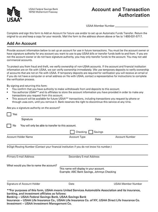 USAA Direct Deposit Authorization Form