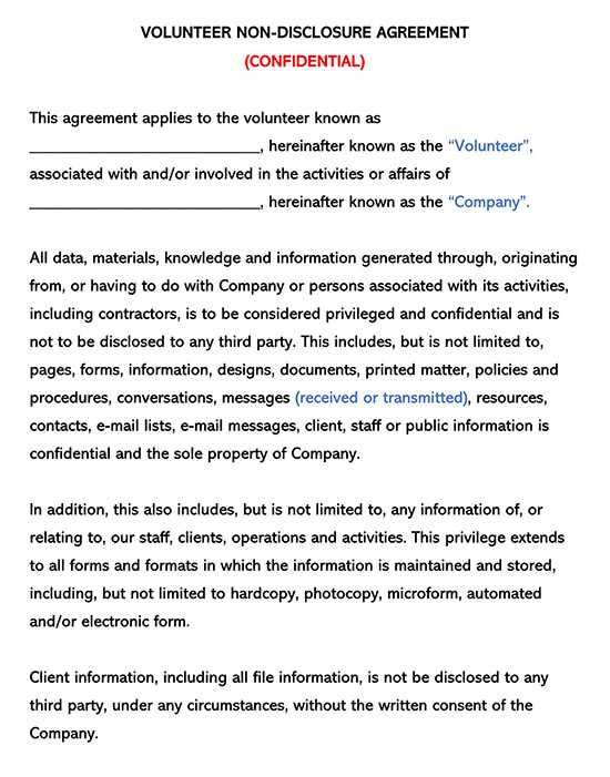 Volunteer Non-Disclosure Agreement Confidentially