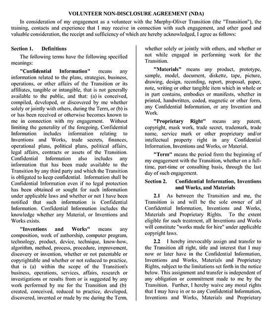 Volunteer Non-Disclosure Agreement