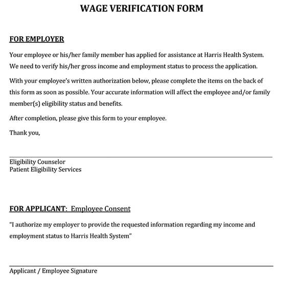 Wage Verification English Form