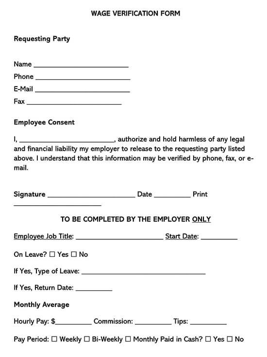 Wage Verification Form