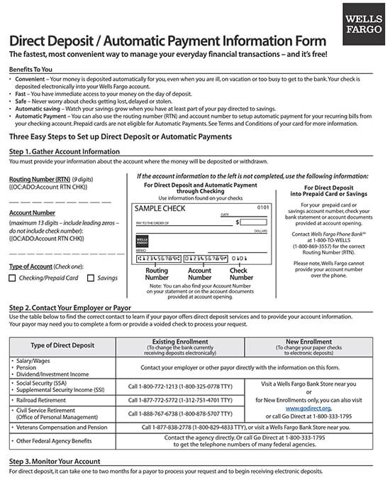 Wells Fargo Direct Deposit Form