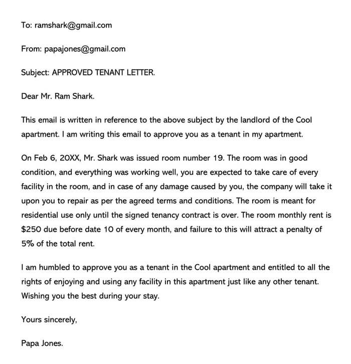 Approved Tenant Email