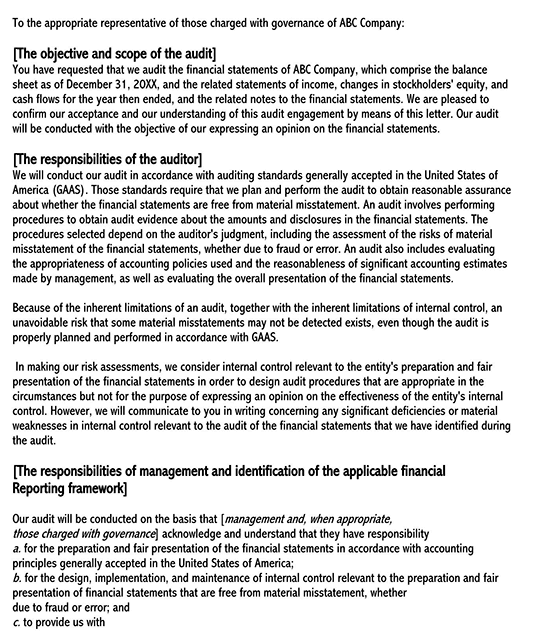 purpose of engagement letter