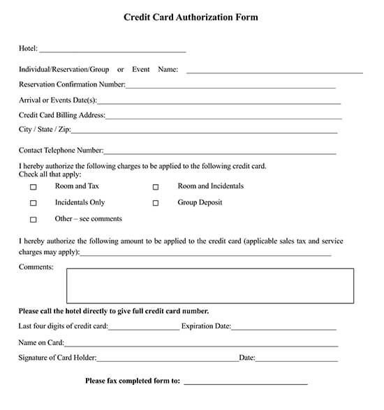 Best Western Hotel Credit Card Authorization Form
