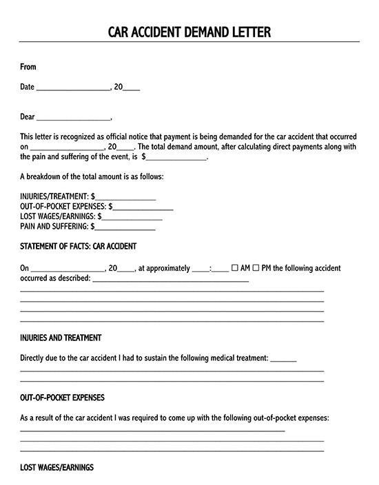 car accident settlement letter template