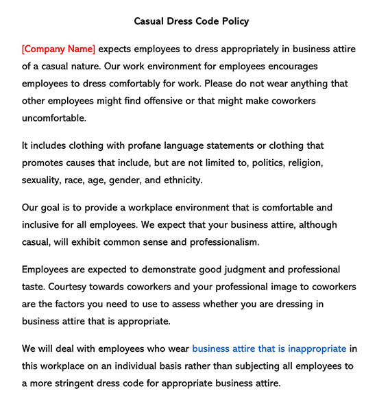 Casual Dress Code Policy