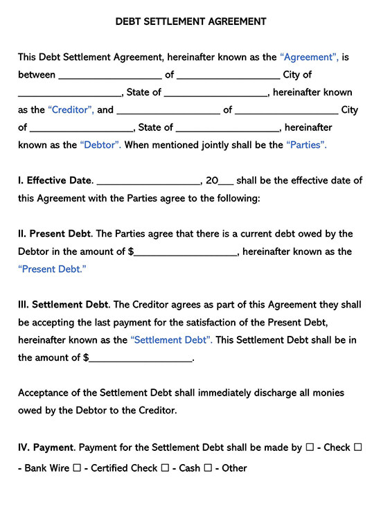 Debt Settlement Agreement