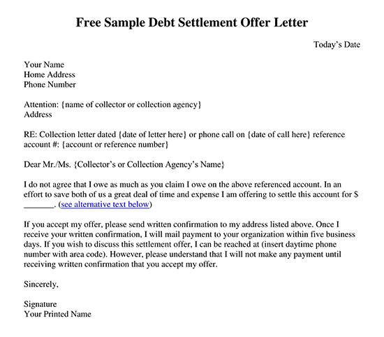 acceptance of settlement offer letter template