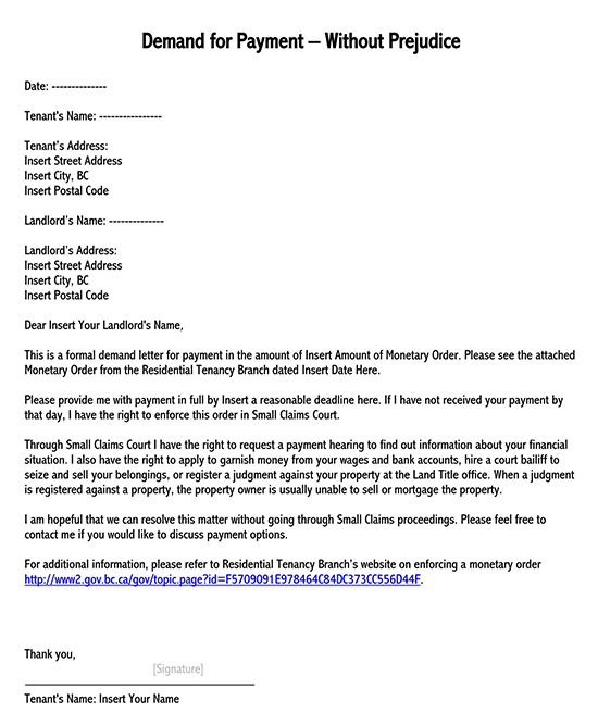 Sample Letter Of Demand For Money Owed from www.wordtemplatesonline.net