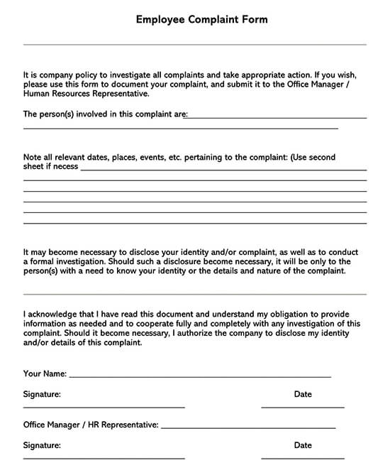Employee Complaint Form Template 05