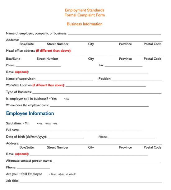Employee Complaint Form Template 06