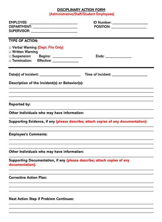 Employee Disciplinary Action Form 01