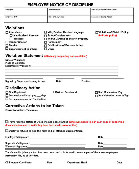 Employee Disciplinary Action Form 05