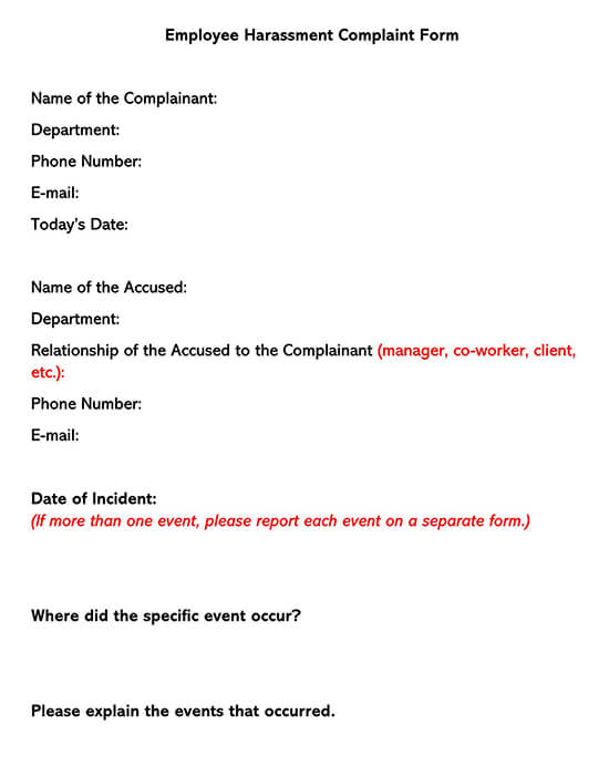 Employee Harassment Complaint Form