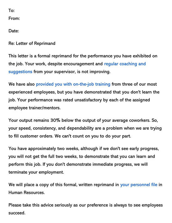 Employee Reprimand Form 02