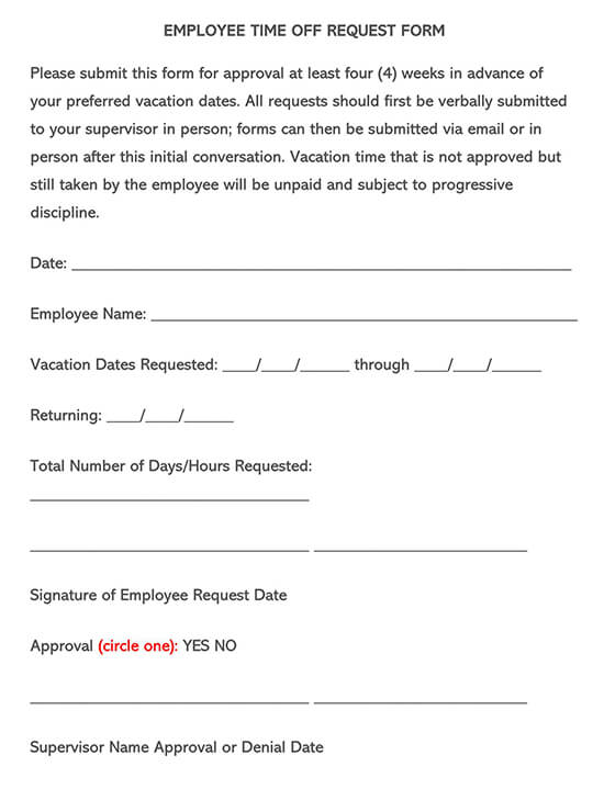 Employee Time-Off Request Form 02